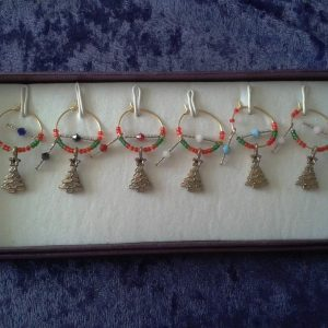 set of christmas wine glass charms - charms by joanna